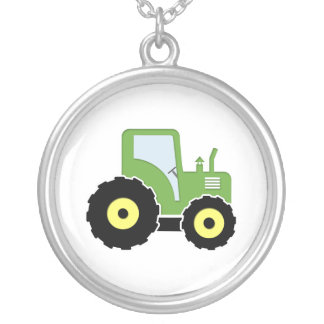 Green toy tractor silver plated necklace