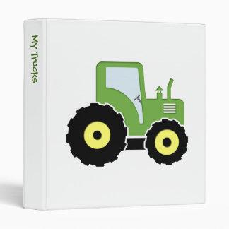 Green toy tractor vinyl binders