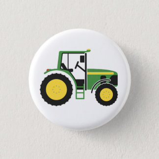 Green Tractor Badge 1 Inch Round Button