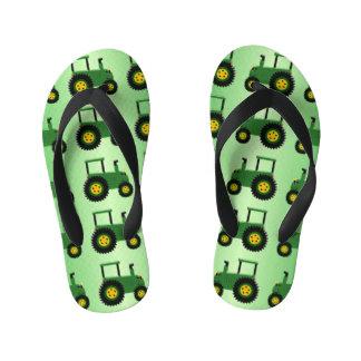 Green Tractor Design Kid's Flip Flops
