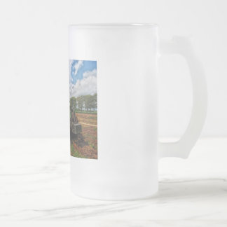 Green Tractor & Grain frosted glass mug