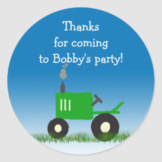 Green Tractor Party Favor Bag Sticker