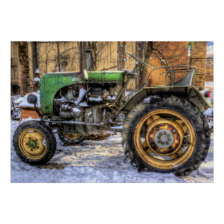 Green Tractor Poster