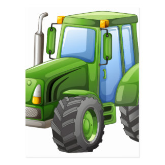 Green tractor with big wheels postcard