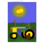 Green Tractor with Fishing Pole by Pond Card