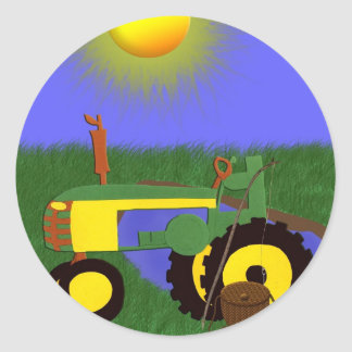 Green Tractor with Fishing Pole by Pond Sticker