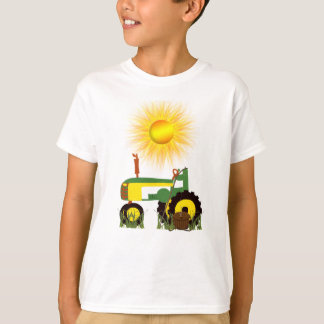 Green Tractor with Fishing Pole T-Shirt