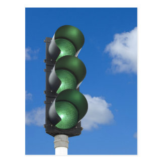 Green traffic light - Postcard