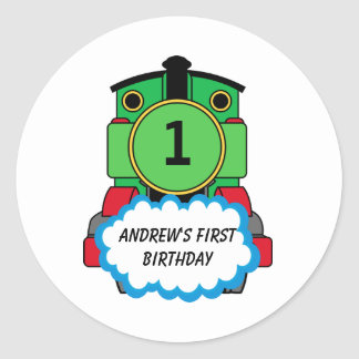 Green Train Happy Birthday Round Sticker