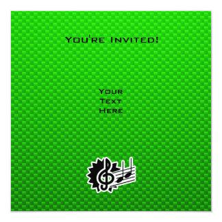 Green Treble Clef 5.25x5.25 Square Paper Invitation Card