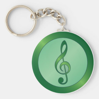 Green Treble Clef Keychain