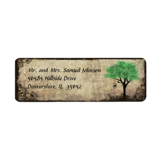 Green Tree and Birdcage Return Address Label