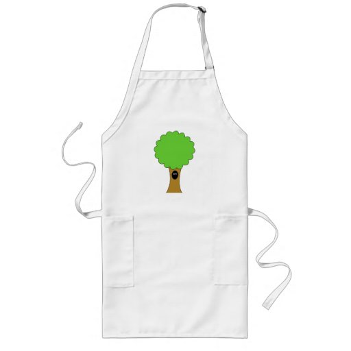 Green tree cartoon with creature. aprons