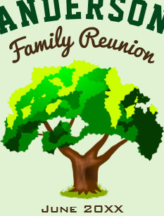 57355d291 Green Tree Custom Name Family Reunion Postcard