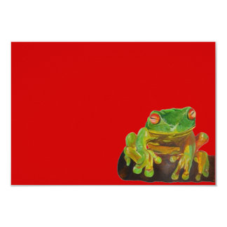 "Green Tree Frog 3.5"" X 5"" Invitation Card"