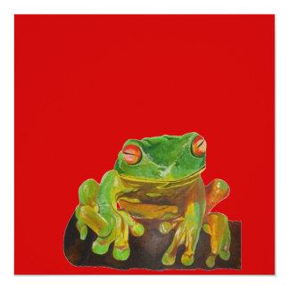 "Green Tree Frog 5.25"" Square Invitation Card"