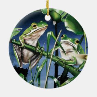 Green Tree Frog Ceramic Ornament