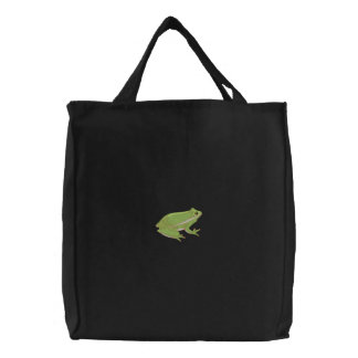Green Tree Frog Embroidered Bags
