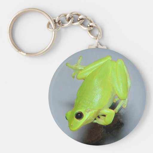 Green Tree Frog Image Keychain