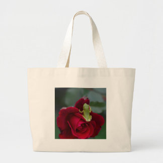 Green Tree Frog on Red Rose Jumbo Tote Bag