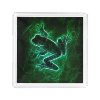 Green Tree Frog Silhouette Acrylic Tray