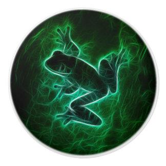 Green Tree Frog Silhouette Ceramic Knob