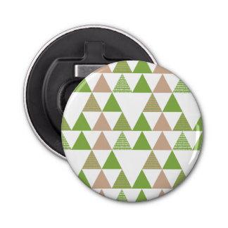 Green Tree Kale Greenery Triangle Geometric Mosaic Bottle Opener