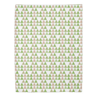 Green Tree Kale Greenery Triangle Geometric Mosaic Duvet Cover