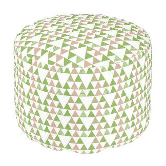 Green Tree Kale Greenery Triangle Geometric Mosaic Pouf