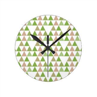 Green Tree Kale Greenery Triangle Geometric Mosaic Round Clock