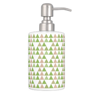 Green Tree Kale Greenery Triangle Geometric Mosaic Soap Dispensers