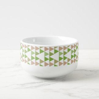 Green Tree Kale Greenery Triangle Geometric Mosaic Soup Mug