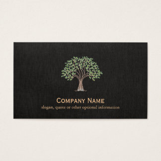 Green Tree Logo Nature Black Faux Linen Business Card