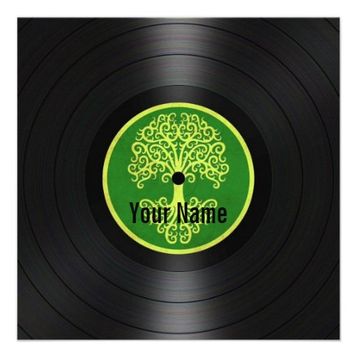 Green Tree of Life Personalized Vinyl Record Personalized Announcements
