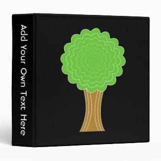 Green Tree. On black background. 3 Ring Binders