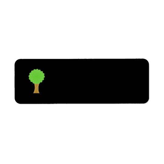 Green Tree. On black background. Return Address Label