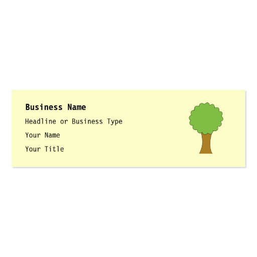 Green Tree. On cream background. Business Card Templates