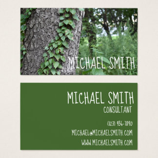 Green Tree Trunk Woods Ivy Park Nature Photography Business Card