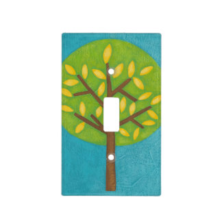 Green Tree with Yellow Leaves by Chariklia Zarris Light Switch Cover