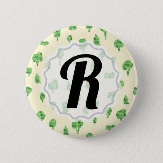 Green Trees Pattern Watercolor Tree Design Spring 2 Inch Round Button