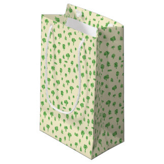 Green Trees Pattern Watercolor Tree Design Spring Small Gift Bag