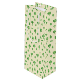 Green Trees Pattern Watercolor Tree Design Spring Wine Gift Bag