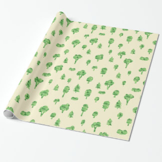 Green Trees Pattern Watercolor Tree Design Spring Wrapping Paper