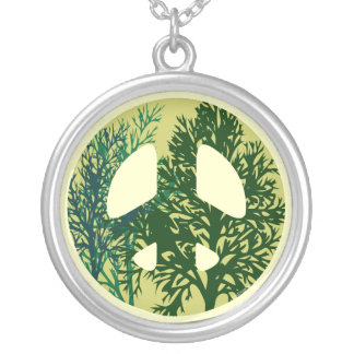 Green Trees Peace Sign Necklace