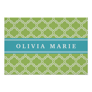 Green Trellis Vibrant Blue Name Template Poster