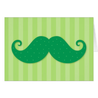 Green trendy hipster mustache card