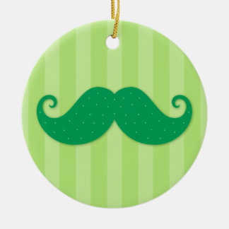 Green trendy hipster mustache round ceramic ornament