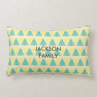 Green Triangle Pattern with Family Name Lumbar Pillow