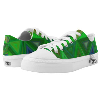 Green Triangles Low-Top Sneakers