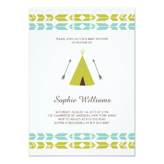 Green Tribal Teepee Baby Shower Card